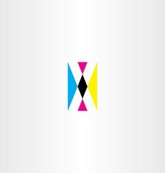 Cmyk printing letter x logo icon vector