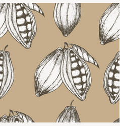 cocoa hand drawn seamless pattern vector image vector image