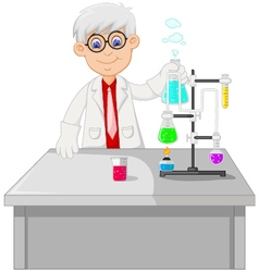 Cute a professor conducting chemical practice vector