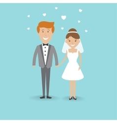 Cute cartoon wedding couple vector