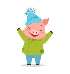 cute happy pig in green warm coat and blue knitted vector image vector image