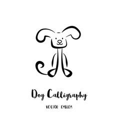 Dog calligraphy emblem vector