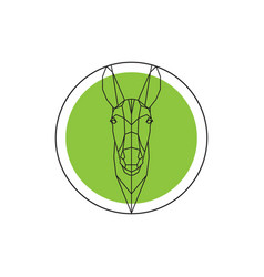 Donkey head on green round logo vector