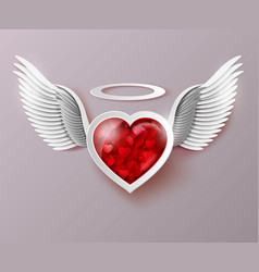 Flying hearts with wings vector