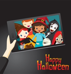 Halloween ghosts and children selfie vector