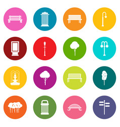 Hangar icons many colors set vector