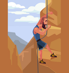 Happy smiling man character climbing rock vector