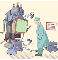 Human and the Machine vector image