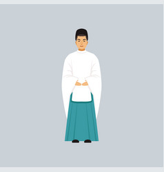 Male shinto priest in traditional clothing vector