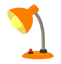 Orange desk lamp icon cartoon style vector