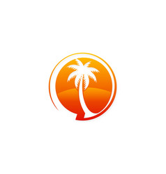 palm tree tropic logo vector image vector image