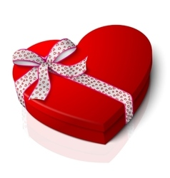 Realistic blank bright red heart shape box vector