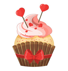 romantic cupcake on valentine s day vector image