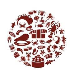 seafood in circle vector image
