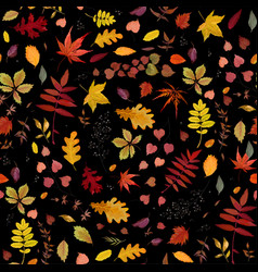 seamless autumn pattern floral watercolor style vector image vector image