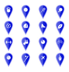 Set of blue map pointers with sport icons vector