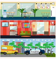 Set of first aid interior posters in flat vector