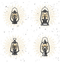 set of vintage kerosene lamp on white background vector image vector image