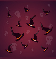 silhouette witch hats and skull happy halloween vector image
