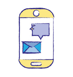 smartphone technology with e-mail chat bubble vector image