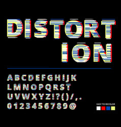 trendy style distorted glitch typeface letters vector image