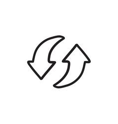 Two circular arrows sketch icon vector
