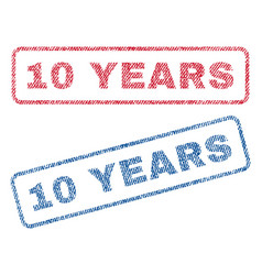 10 years textile stamps vector