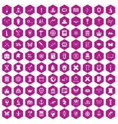 100 archeology icons hexagon violet vector
