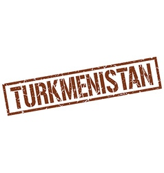 Turkmenistan brown square stamp vector
