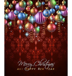 Christmas vintage classic background with balls vector