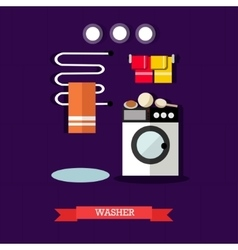 Washer and accessories in vector
