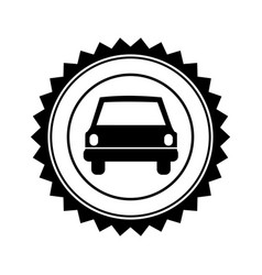 monochrome circular seal with automobile in front vector image