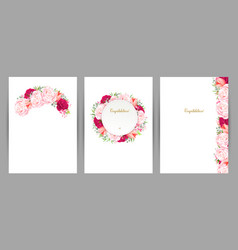 set of three congratulation cards with flower vector image