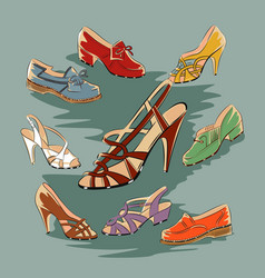 Set of retro vintage female shoes vector