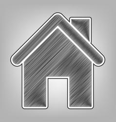 Home silhouette pencil vector