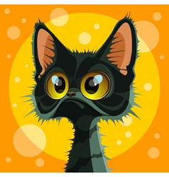 Cartoon cute big eyed black cat vector