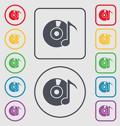 Cd or dvd icon sign symbols on the round and vector