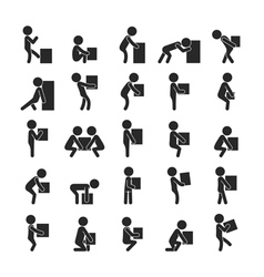 Set of man moving box human pictogram icons vector