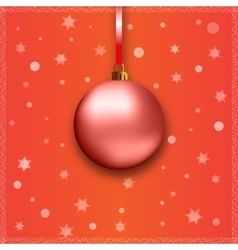 Red christmas ball with ribbon vector