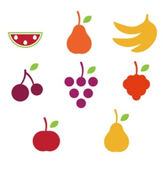 Fruits icons on white background vector