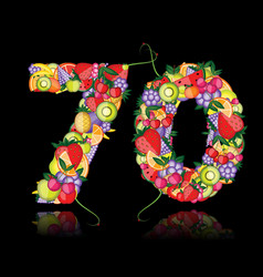 number seventy made from fruits vector image