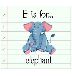 Flashcard letter e is for elephant vector