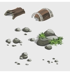 Fragments of the ancient ship and stones vector