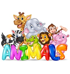 Cartoon of word animal with cartoon animal vector