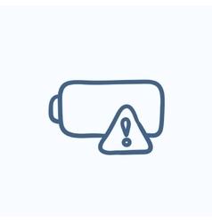Empty battery sketch icon vector