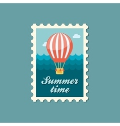 Hot air balloon stamp summer vacation vector