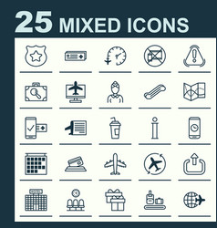 Airport icons set collection of travel clock vector