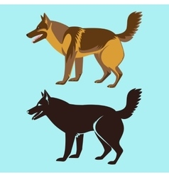 Alsatian Dog Silhouette Isolated German Sheepdog vector image vector image