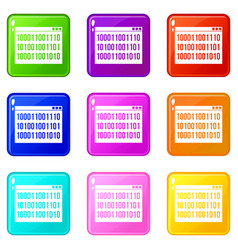 Binary code icons 9 set vector