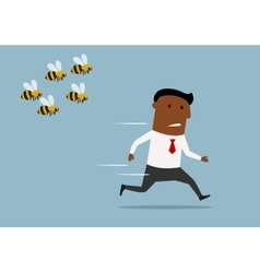 Cartoon businessman running away from bees vector